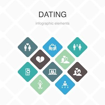 デートインフォグラフィック10オプションカラーデザイン。恋に落ちる、恋に落ちる、出会い系アプリ、関係のシンプルなアイコン