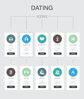 デートのインフォグラフィック10ステップのuiデザイン。恋に落ちる、恋に落ちる、出会い系アプリ、関係のシンプルなアイコン