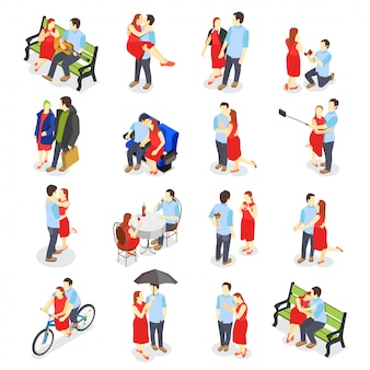 Dating isometric icons