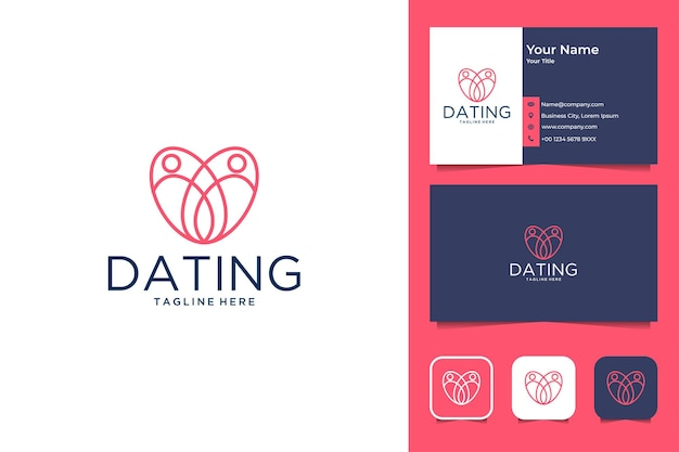 Dating line art with love logo design and business card