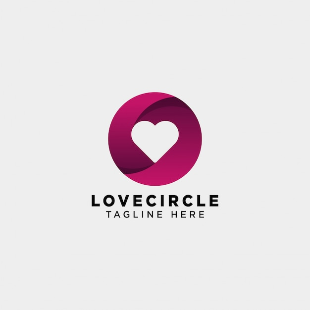 Dating love circle gradient logo vector icon isolated