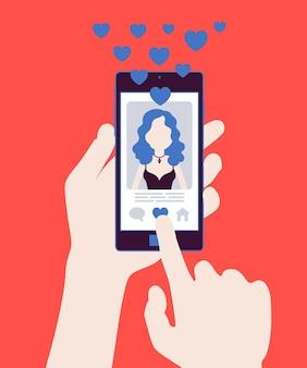 Знакомства мобильное приложение с женским профилем на экране смартфона. онлайн-приложение для одиноких, чтобы найти себе пару, социальную сеть для подключения, встретить спутника жизни. векторная иллюстрация, безликий персонаж