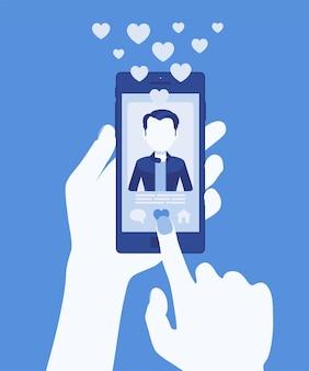 Знакомства мобильное приложение с мужским профилем на экране смартфона. онлайн-приложение для одиноких, чтобы найти совпадение, социальная сеть для подключения, телефон в руке. векторная иллюстрация, безликий персонаж