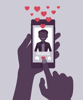 스마트폰 화면에 남성 프로필이 있는 데이트 모바일 애플리케이션