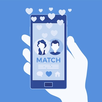 Мобильное приложение знакомств с матчем на экране смартфона. мужчина, женщина вместе, встреча со спутником жизни, служба социальной сети, рука, держащая телефон. векторная иллюстрация, безликие персонажи