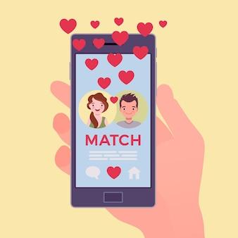 Мобильное приложение знакомств с совпадением на экране смартфона