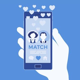 Мобильное приложение знакомств с парным соответствием на экране смартфона. мужчина, женщина вместе, объединяются, чтобы сформировать пару в онлайн-приложении, встретить спутника жизни, держать телефон в руке. векторная иллюстрация, безликие персонажи