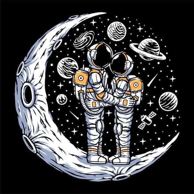 月のイラストでデート