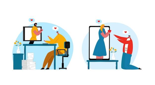 オンラインでデート、インターネットでのカップルのコミュニケーション、ベクトルイラスト。男性女性の人々のキャラクターはソーシャルネットワークを介して通信します