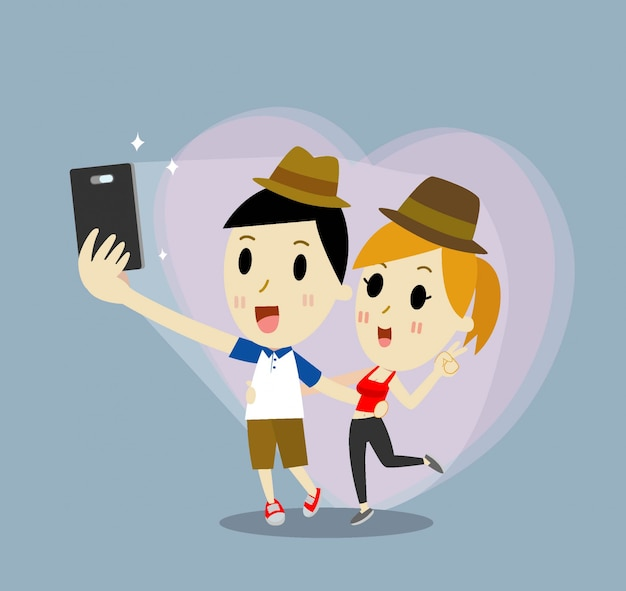 Dating young couple cartoon happy in love taking selfie self-portrait photo