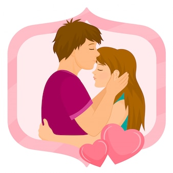 Dating young people hugging for valentine day.
