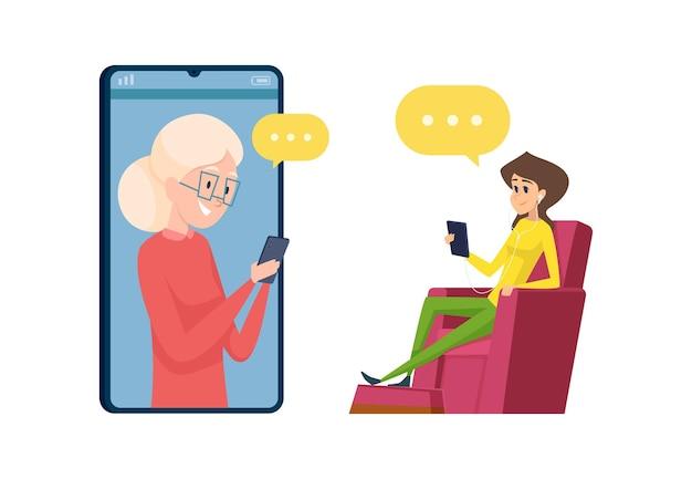 Дочь и мать разговаривают по телефону. счастливая бабушка и внучка, пожилая женщина с иллюстрацией смартфона.