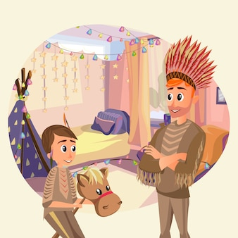 Daughter father play indians nursery with wigwam