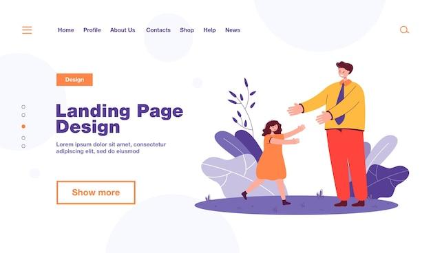 Дочь приветствует отца после работы. счастливая маленькая девочка бежит к человеку в равномерной плоской иллюстрации. семья, отношения, концепция детства, дизайн веб-сайта или целевая веб-страница