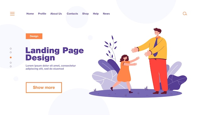 Daughter greeting father after work. happy little girl running towards man in uniform flat  illustration. family, relationship, childhood concept , website design or landing web page