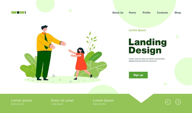Daughter greeting father after work landing page in flat style