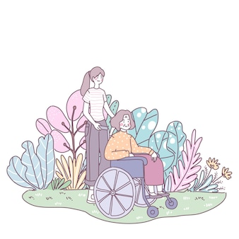 딸이 어머니를 데리고 윌셔를 앉 힙니다. 잔디밭에서 산책하기