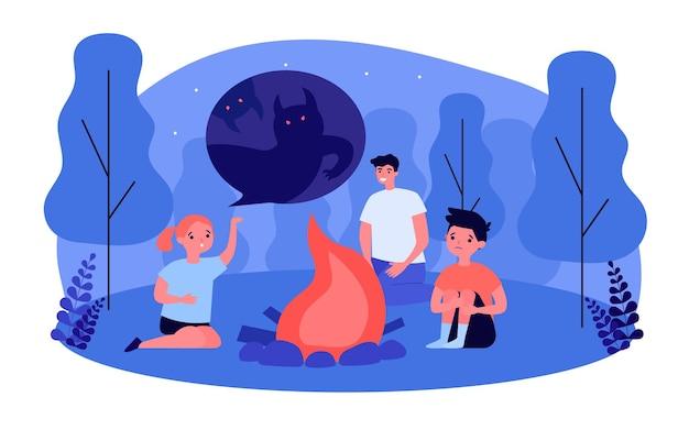 Дочь рассказывает страшную историю отцу и брату у костра. семейный отдых в лесу ночью плоские векторные иллюстрации. семья, кемпинг, концепция активного отдыха для баннера, дизайн веб-сайта