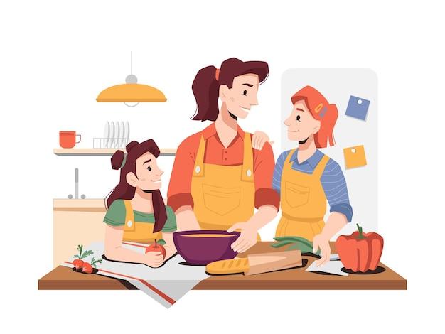 母親が台所で料理をするのを手伝う娘たち