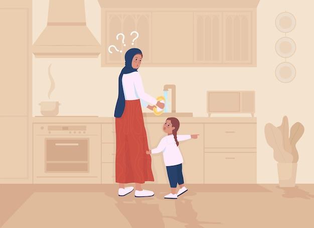 Догтер отвлекает мать плоской цветной векторной иллюстрацией. родитель занят мытьем посуды. малыш требует внимания от родителей. семейные 2d герои мультфильмов с кухонным интерьером на заднем плане