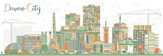 色の建物とダバオ市フィリピンのスカイライン。ベクトルイラスト。近代建築と出張と観光のイラスト。