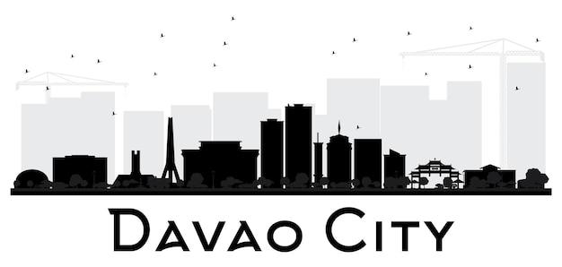 ダバオ市のスカイラインの黒と白のシルエット。ベクトルイラスト。観光プレゼンテーション、バナー、プラカードまたはwebサイトのシンプルなフラットコンセプト。出張の概念。ランドマークのある街並み。