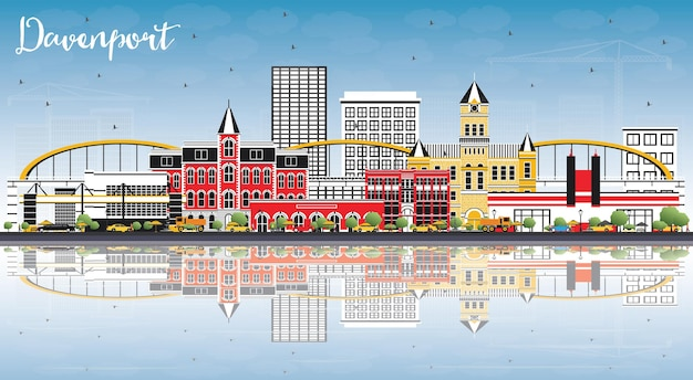 Davenport iowa skyline with color buildings, blue sky and reflections. vector illustration. business travel and tourism illustration with historic architecture.
