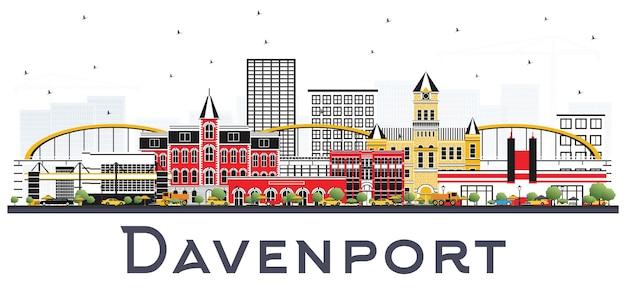 흰색 배경에 고립 된 색 건물 대번 포트 아이오와 스카이 라인. 삽화. 역사적인 건축물과 비즈니스 여행 및 관광 그림.