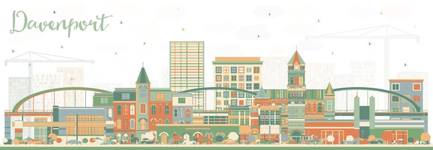 Davenport iowa skyline with color buildings. vector illustration. business travel and tourism illustration with historic architecture.