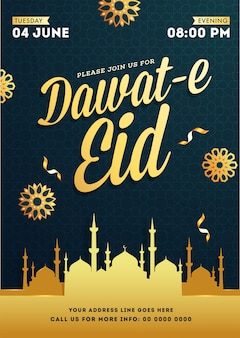 Dawat-e eid event flyer or poster template
