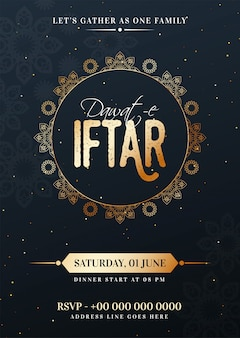 Dawat-e-iftar celebration template or flyer design with date, ti