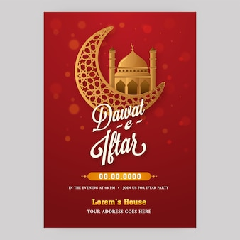 Dawat-e-iftar flyer design with golden crescent moon and mosque on red background.