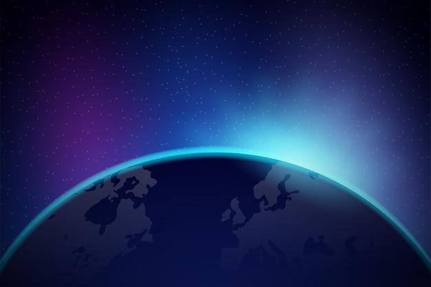 宇宙からの夜明け。宇宙からの夜明け。地球の後ろに昇る太陽