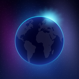 Dawn from space. dawn from space. rising sun behind the earth Premium Vector