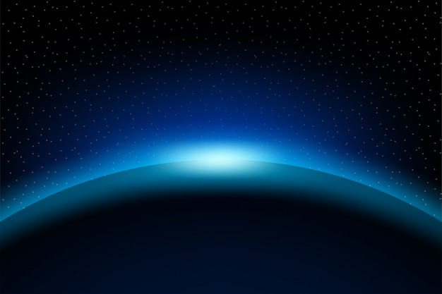 Dawn from space  dawn from space  rising sun behind the earth Premium Vector