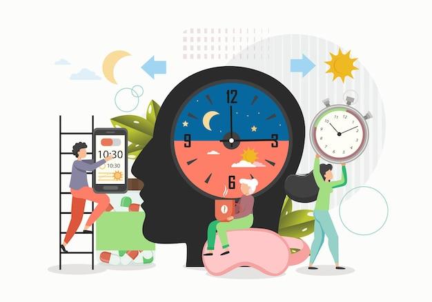 Дневная и ночная активность, плоские векторные иллюстрации. теория биоритмов, ритмические биологические циклы.