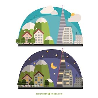 낮과 밤의 도시 풍경