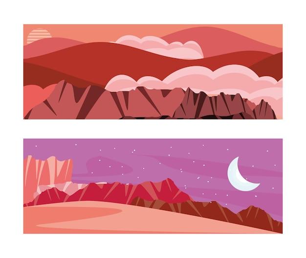 낮과 밤 사막 풍경 세트