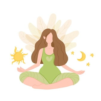 День и ночь. девушка в лотосе йоги практикует медитацию.