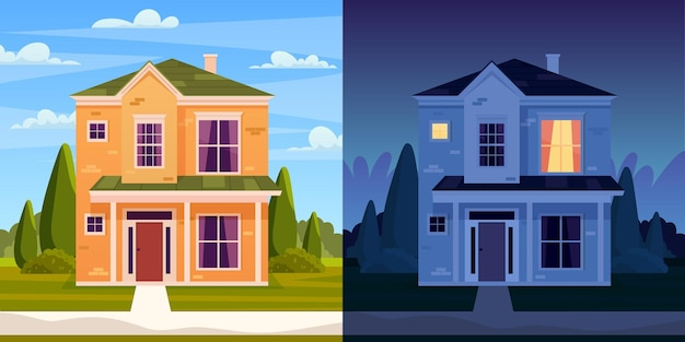 Дневной и ночной дом. улица в пригородном районе с жилым домом. мультяшный пейзаж с дачным коттеджем. городской квартал с недвижимостью. векторная иллюстрация в плоском стиле