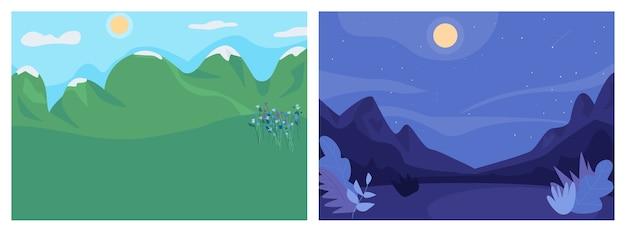 Дневной и ночной пейзаж плоский цветной набор иллюстраций