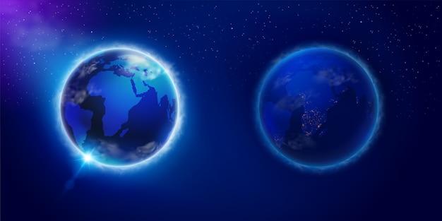 宇宙から見た地球上の昼と夜。科学、広告、教育メディアで使用されます。現実的なファイル。