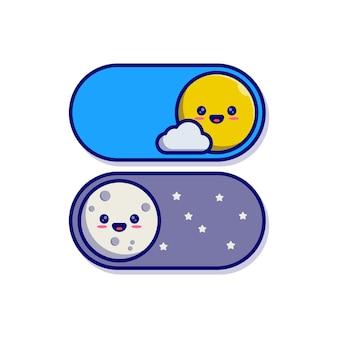 かわいい太陽と月のキャラクターマスコットと昼と夜のトグルボタンのイラストデザイン