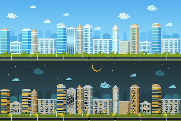 昼と夜の都市景観。建物の建築、街並みの町、ベクトル図