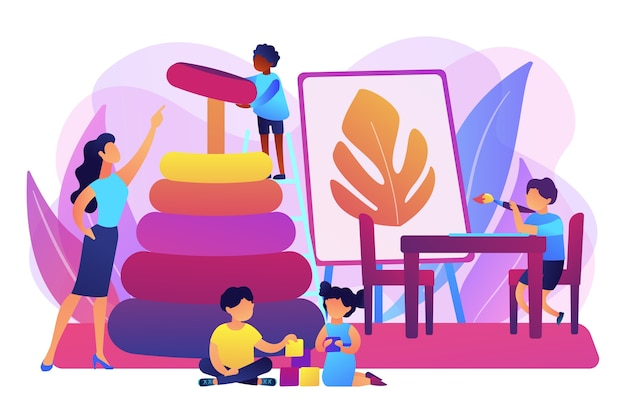 탁아소, 유치원 학생 및 교사. 초등 교육. 보육원, 고품질 유치원 프로그램, 가까운 사립 보육 개념. 밝고 활기찬 보라색 고립 된 그림