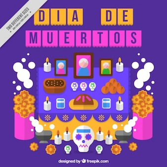 Day of the dead background celebration in flat design