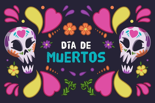 Day of the dead background colorful design