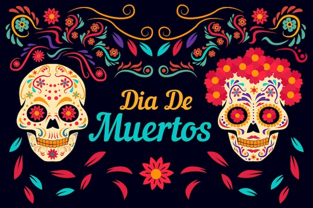 Day of the dead background flat design