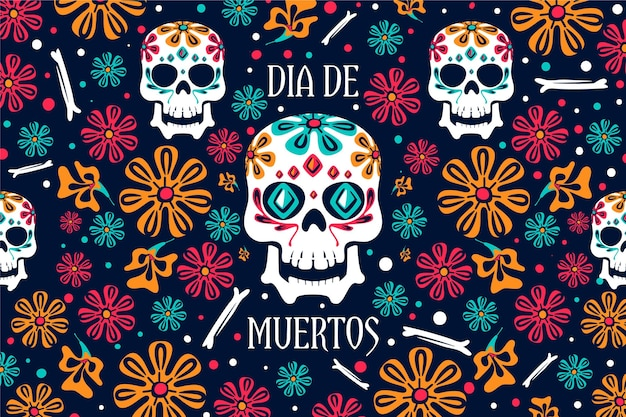 Day of the dead background floral design