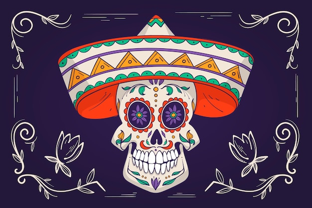 Day of the dead background hand drawn design